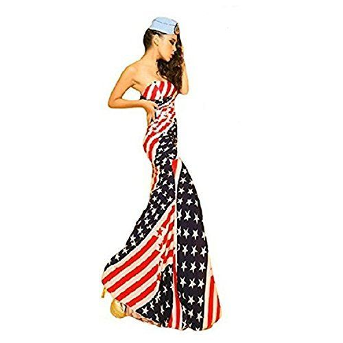 July 4th Women's clothing is hotter than ever  this year for summer 2017.   Bold shades  of red, white and blue clothing is not only stylish but sexy.   Women's Patriotic clothing has never been so  cute, adorable and stylish. You will love all these summer fashions!  Consider getting you some American Flag  clothing and show your love, pride and passion for America this July 4th      [BTW.JP] American Flag Long Maxi Dress Women's USA Star and Stripes Patterns