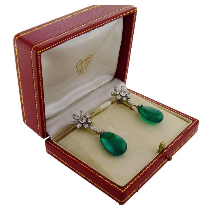 Cartier Minor Oil Colombia Emerald Diamond Platinum Ear-clips 1