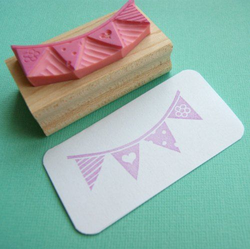 Party Bunting Hand Carved Rubber Stamp by Skull and Cross Buns