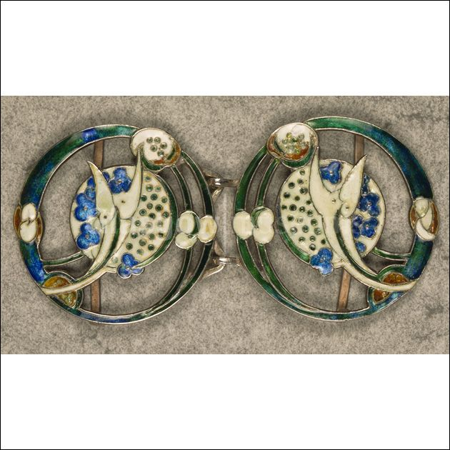 Silver enamelled waist buckle, designed by Jessie Marion King for Liberty and Co, London, 20th century </br> Reproduced by permission of Dumfries and Galloway Council and the National Trust for Scotland, as copyright holders