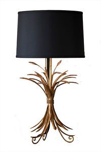 NEW-HORCHOW-BLACK-GOLD-WHEAT-SHEAF-METAL-Table-Lamp-PAIR-SET-2-NEIMAN-MARCUS