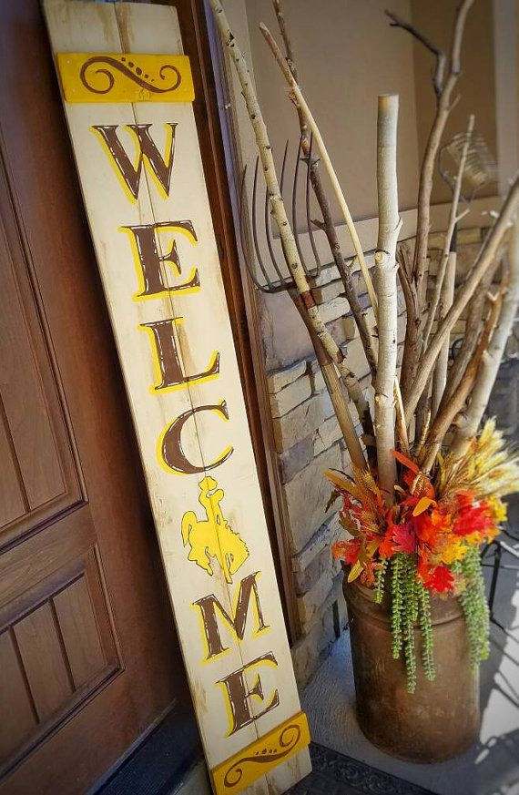 Wyoming Cowboys Inspired Front Porch Leaner by SarahBerryDesigns More