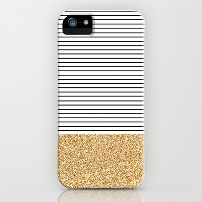 Minimal Gold Glitter Stripes iPhone & iPod Case by Allyson Johnson - $35.00