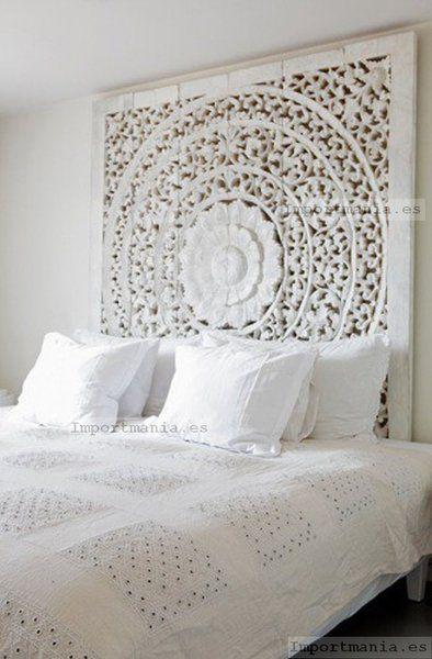 cabecero oriental blanco envejecido - Muebles chinos   muebles orientales   muebles asiaticos   decoración oriental China