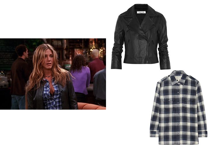 We're still feeling plaid and leather. Hello Saint Laurent. Elizabeth and James Erwan leather jacket, $398 theoutnet.com; Current/Elliot the perfect plaid cotton shirt, $90 theoutnet.com - Photo: (from left) Courtesy of Warner Bros. Television; Courtesy of theoutnet.com; Courtesy of J.Crew