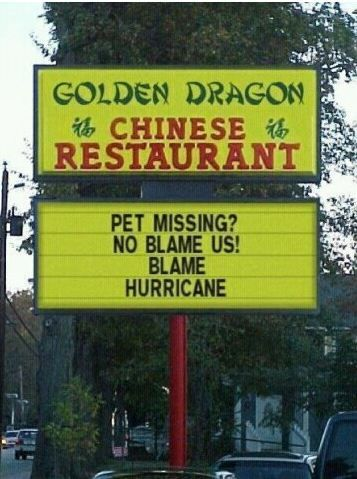 Blame hurricane. hahaha!!: Chine Food, Funny Signs, Asian Food, Chinese Restaurant, Cat Food, Funny Stories, Funny Commercial, Funny Photos, Baby Cat