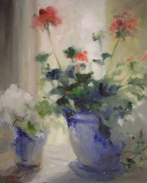 K.Lawrence...Red-Geraniums-White-Hydrangea