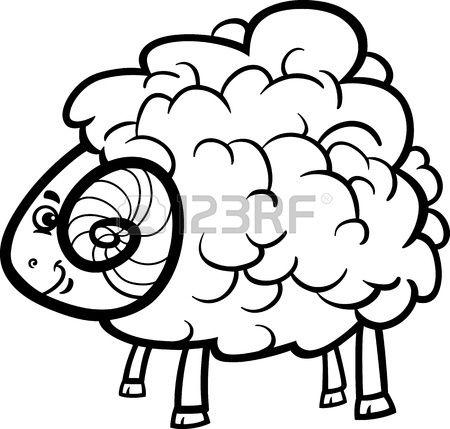 Мультфильм черно-белые иллюстрации забавный Скотный двор Память для Книжка-раскраска Фото со стока