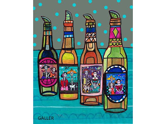Mexican Folk Art Day of the Dead Beer Bottles Art Poster Print of Painting by Heather Galler (HG664)