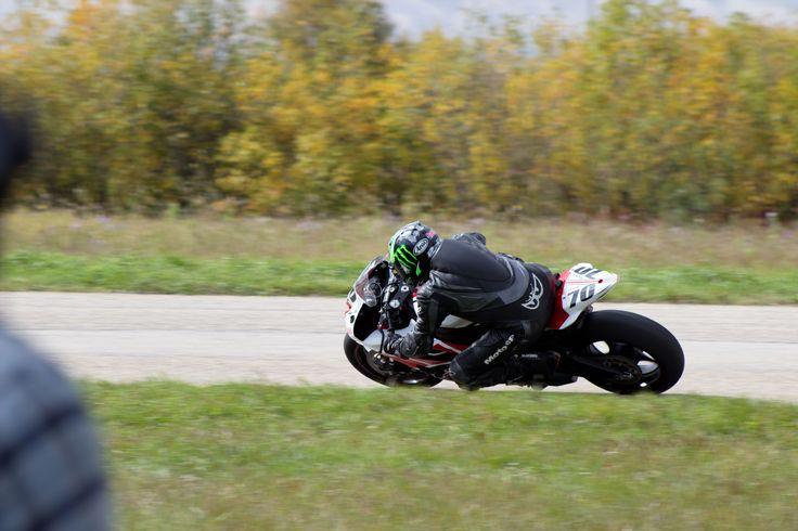 Racing motorcycles at Gimli track.