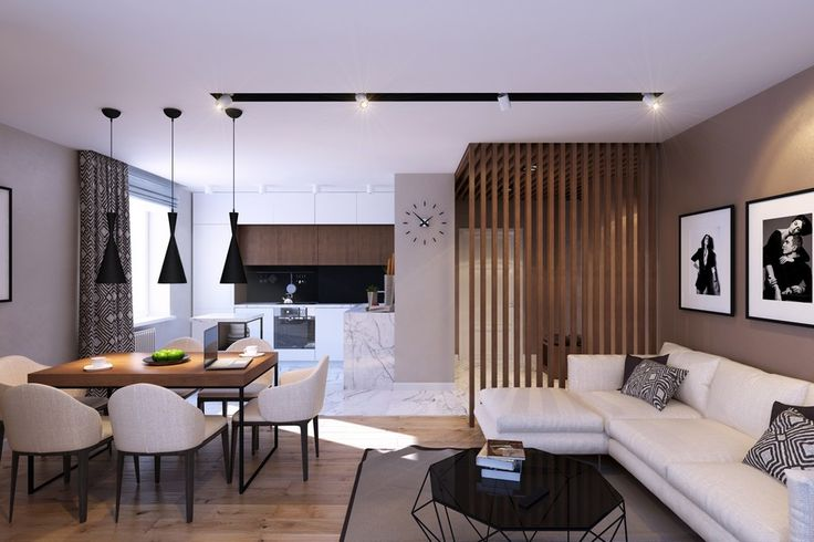 Wood partition in an apartment in St. Petersburg, Russia designed by Studio Geometrium