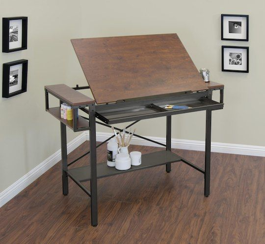 """The Traditional Drafting Table and Craft Station features a large, durable, tilting 36.5"""" high desktop for drawing and drafting, as well as two side shelves that keep supplies level for projects.  The large drawer and bottom shelf offer additional storage, which is always needed for craft or art supplies."""