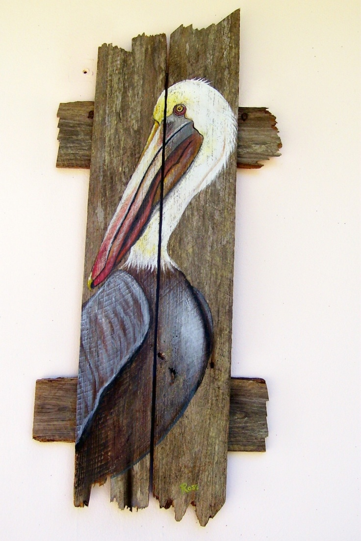Pelican Hand Painted on Reclaimed Fence Boards by roseartworks