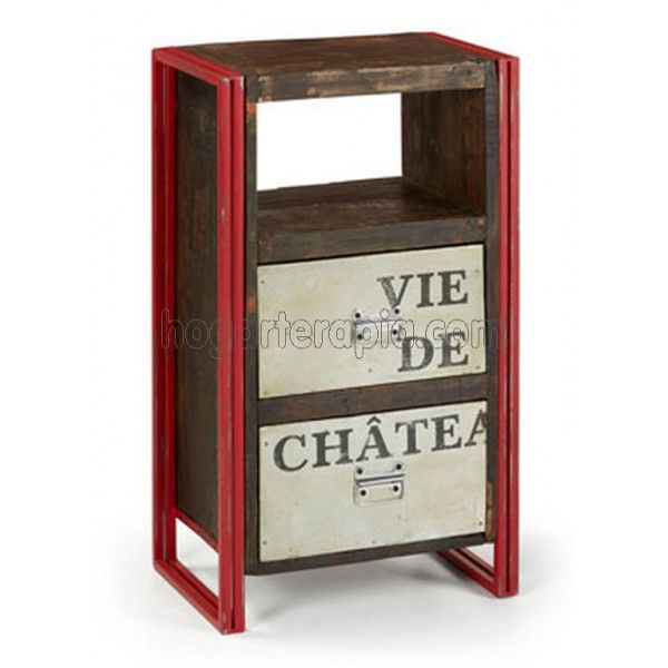 Mesa auxiliar vintage yale con dos cajones de madera - Muebles auxiliares vintage ...