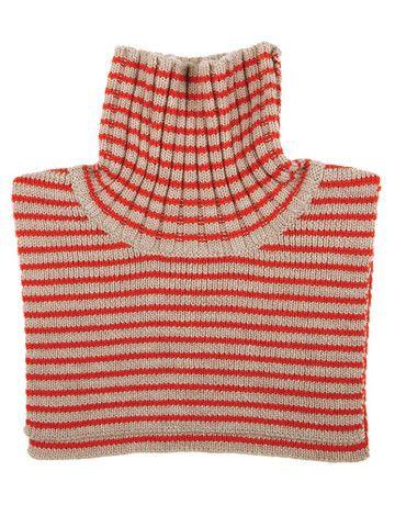 FUB - Neck Warmer beige/red 100% merino wool