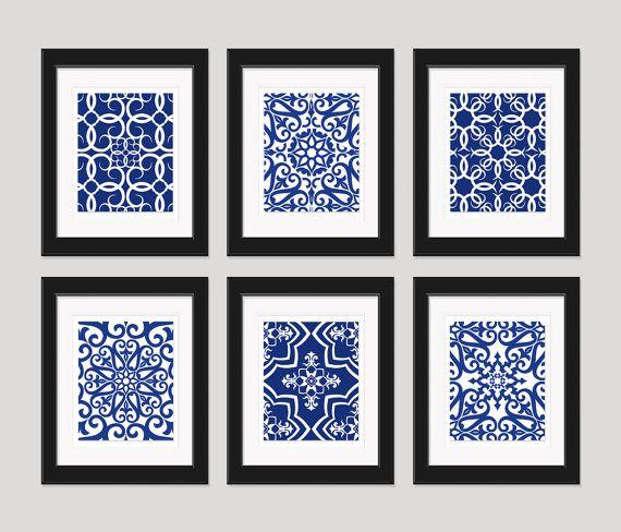 Navy Blue Art Blue White Wall Art Home Decor Set By Inkandnectar