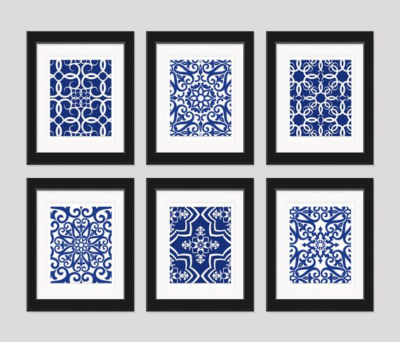 Navy Blue Art Blue White Wall Art Home Decor Set by inkandnectar -- add to black and white photo wall for color?