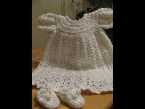 Crochet Christening Gown - Video 1 Vestidos de bebe ...