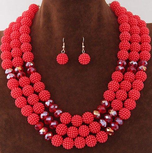 2016 Más Reciente Perlas Africanas Sistemas de La Joyería Colorida Imitación de la Perla de La Boda Sistema de La Joyería Declaración Para Las Mujeres bijoux femme parure