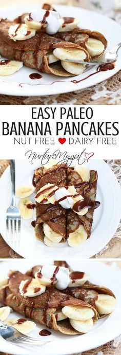Easy Paleo Banana Pancakes. Naturally sweetened, gluten free, dairy free and nut free. Healthy, easy breakfast. Kid friendly.
