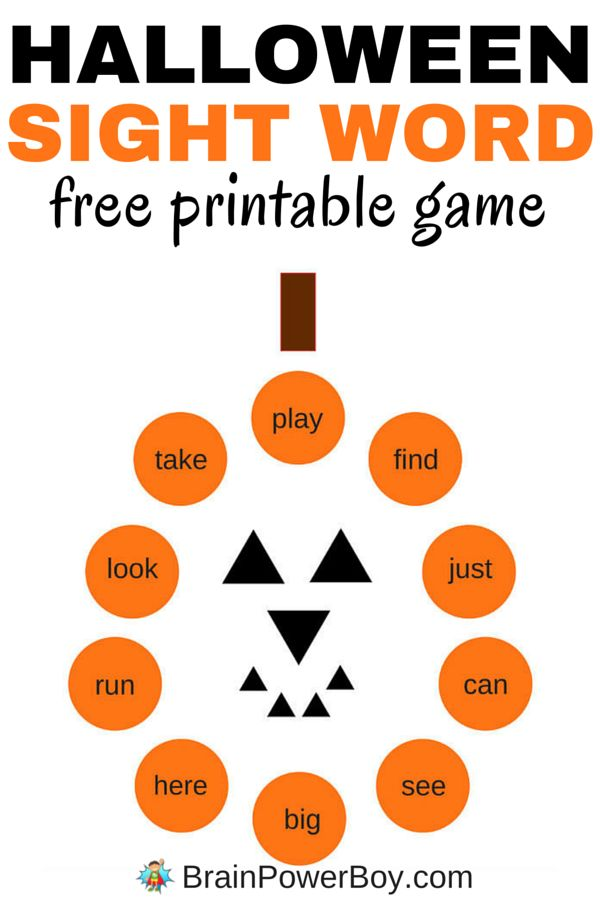 This free printable sight word game for Halloween comes with two cute pumpkin boards and cards. One of the boards includes dolch sight words for preschoolers and the other is blank so your can add your own words. Click picture to print your free sight wor