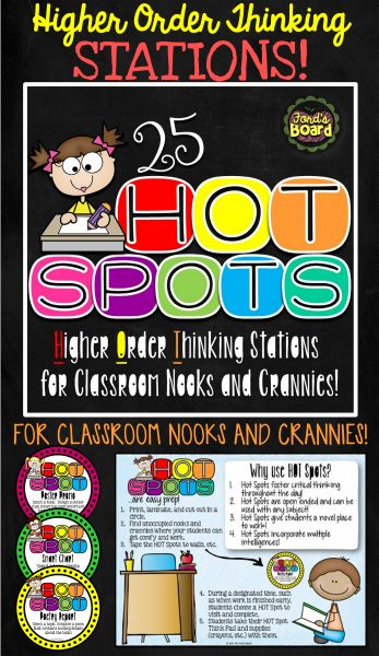 Incorporate more higher order thinking activities into your students' school day by using H.O.T. Spots! This set of 25 circular task cards contain engaging higher order thinking assignments and are created to be placed in unoccupied nooks and crannies in your classroom. All activities are open ended and may be used with a variety of topics over and over again!