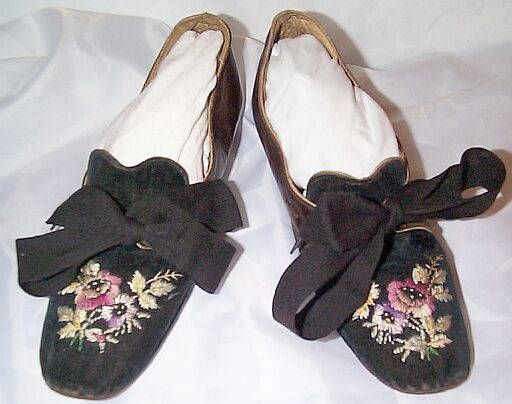 This pair of shoes date to the end of the 1860's, about 1868. They foreshadow the styles of the 1870's with decorated vamps.