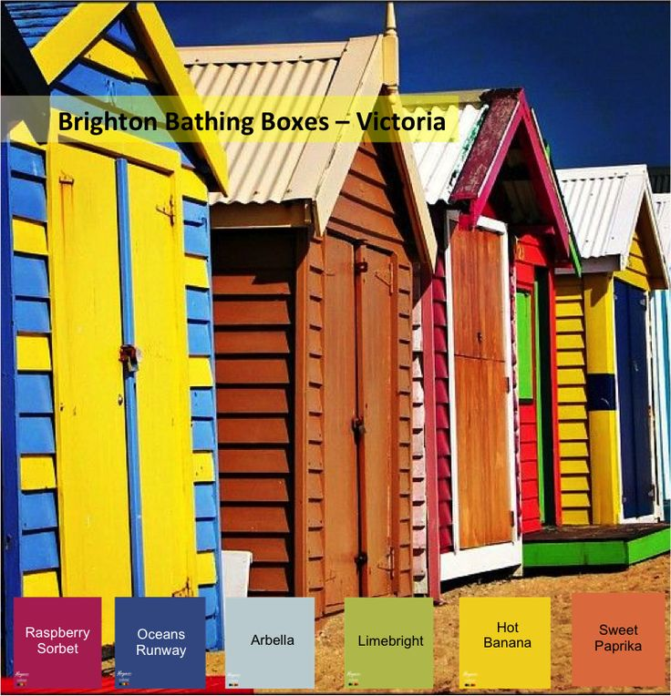 The Brighton Bathing Boxes - Victoria This Haymes Paint Colour Scheme has bright bold colours