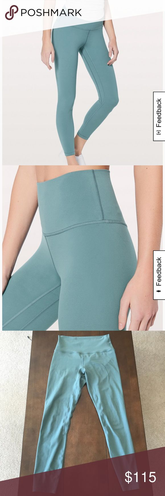 """Lululemon Align II Size 6 lululemon Align II in Mystic Green! I absolutely love this color and was devastated when it sold out online before I could get my size (4). I bought these on Ⓜ️ in a size 6 hoping that they would fit similarly. Unfortunately they do not, so I am reselling them. The color is hard to capture so I included the stock pics from lulus website. The color is definitely closest to the stock photos.  Size 6 Mystic Green 25"""" (ankle length)  Willing to trade for size 4 aligns…"""