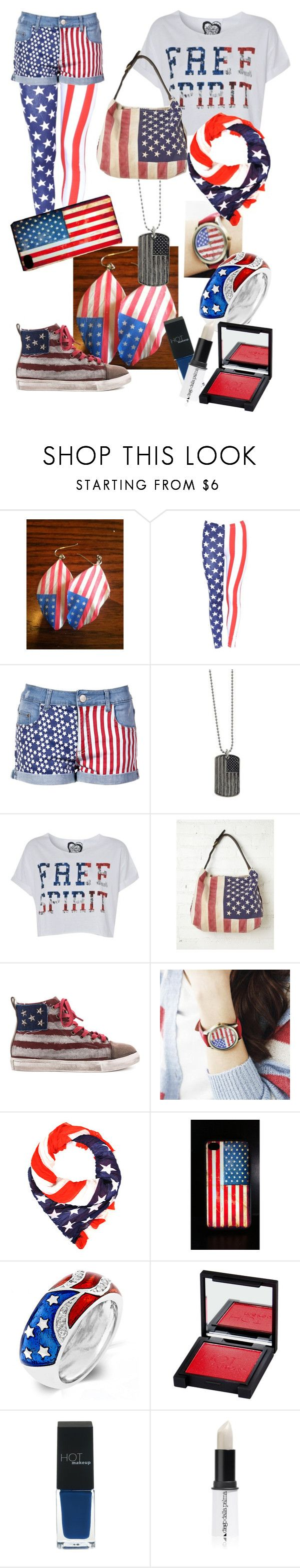 """""""America"""" by moonheart2000 ❤ liked on Polyvore featuring 1928, Free People, Penny Sue, Cuteberry, Fantasy Jewelry Box, HOTmakeup and Diego Dalla Palma"""