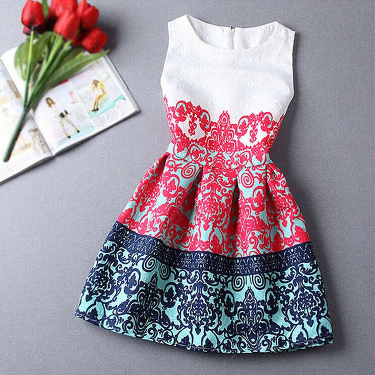 Red/Blue Summer/Spring Girls Formal Dresses Teens Designer Print Sleeveless Dress Easter Holiday Kids Costume Vestidos Infantis-in Dresses from Mother & Kids on Aliexpress.com   Alibaba Group
