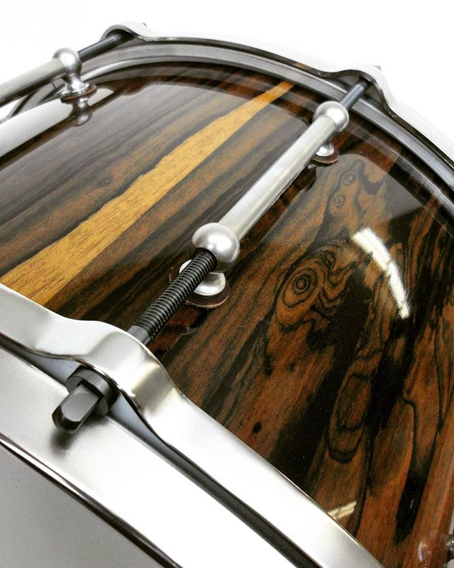 Detail shot of a 14x8 ziricote stave snare drum by HHG drums   http://learnmusicmastery.com/