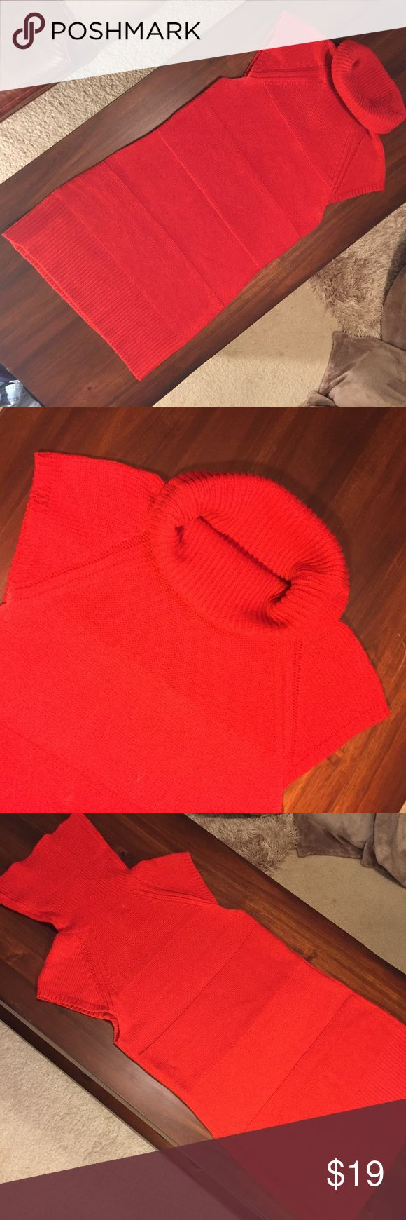 Red Tunic Sweater Long red tunic sweater, with cowl/turtleneck style collar and cap sleeves. Good condition, lightly used. Ashley Sweaters Cowl & Turtlenecks