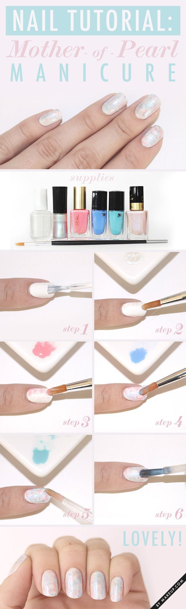 How to do a pearl inspired manicure. Tutorial nails. Nail art. Nail design.
