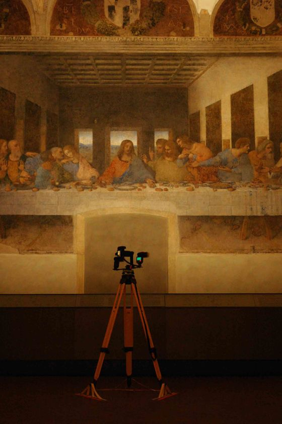"""Scanning the Last Supper """"The surface of the paintings was scanned in 3D using the Faro scanner, which provided an accurate dimensional survey of the general shape of the walls.In addition to scanning the paintings, the back wall of the Last Supper was scanned in 3D for the first time."""" Factum Arte"""