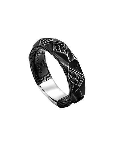 Oxidized Sterling & Black Sapphire Lava Slim Band Ring, Size 11