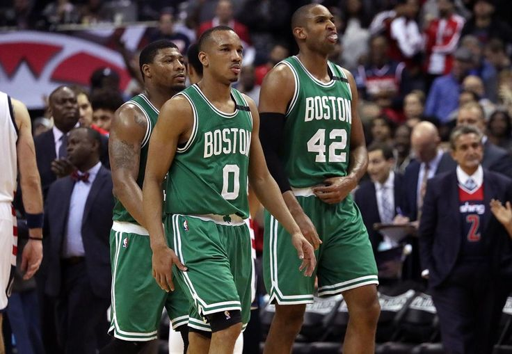 Washington, D.C. - 5/12/2017 - (4th quarter) Boston Celtics guard Avery Bradley (0), Boston Celtics center Al Horford (42), and Boston Celtics guard Marcus Smart (36) head to the bench for a timeout and the score tied at 87-87 in the fourth quarter. The Washington Wizards host the Boston Celtics in Game 6 of the Eastern Conference Semi-Finals at the Verizon Center in Washington, D.C. - (Barry Chin/Globe Staff), Section: Sports, Reporter: Adam Himmelsbach, Topic: 13Celtics-Wizards, LOID…