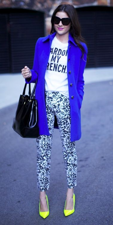 Pardon My French, blue statement coat with bright high heels gets you noticed in the fall street style