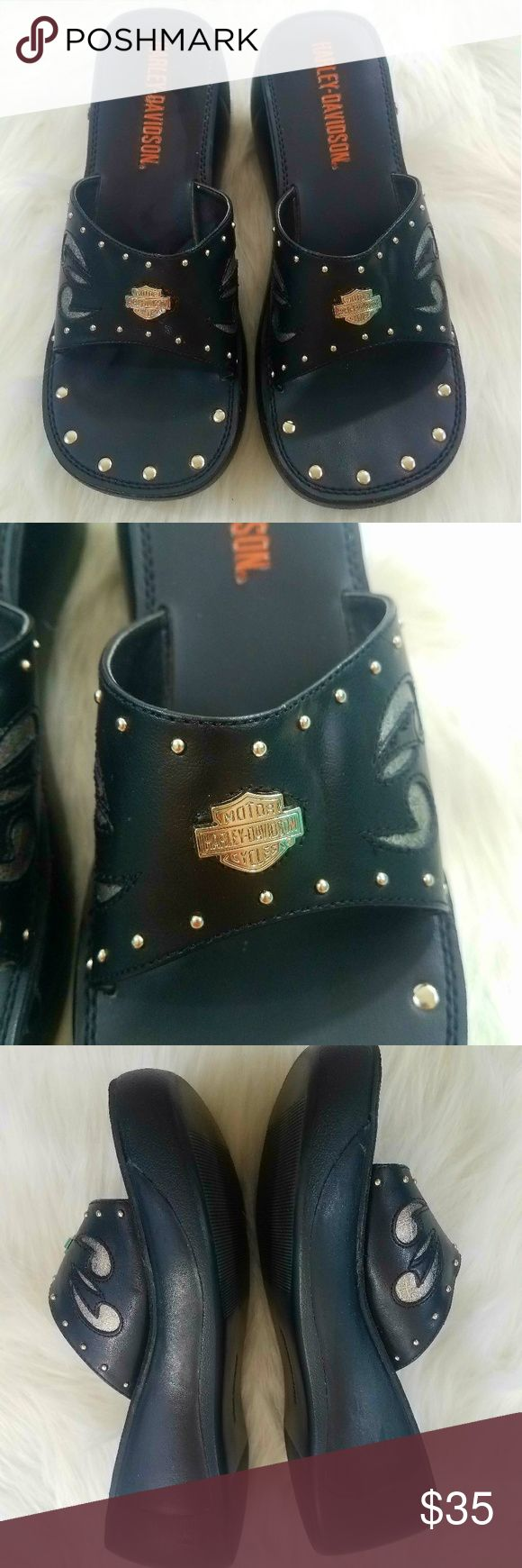Harley Davidson Slip On Wedge Sandels Harley Davidson Slip On Wedge Sandels Size 8. Very gently used! Worn maybe once! Has some slight wear in the bottom heel. Please See pictures! Harley-Davidson Shoes Sandals