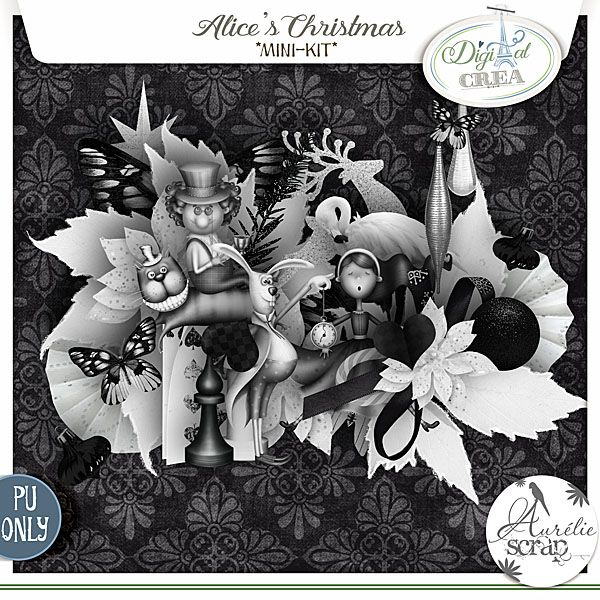 "Mini-kit ""Alice's Chritsmas"" by Aurélie Scrap. It's a kit with a special touch of Alice in a wonderland ^^ but for Christmas !! I don't know how comes this idea, but I adore to play with this theme !! Alice's Christmas - digital scrapbooking kit by Aurelie Scrap. A B/W mini-kit is just so marvellous !!"