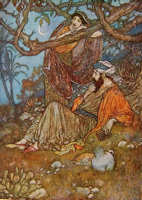 Edmund Dulac illustration in Rubáiyát of Omar Khayyám by Crossett Library Bennington College on Flickr.  Illustration by Edmund Dulac in Rubáiyát of Omar Khayyám by Omar Khayyám. Rendered into English verse by Edward Fitzgerald. London: Hodder & Stoughton