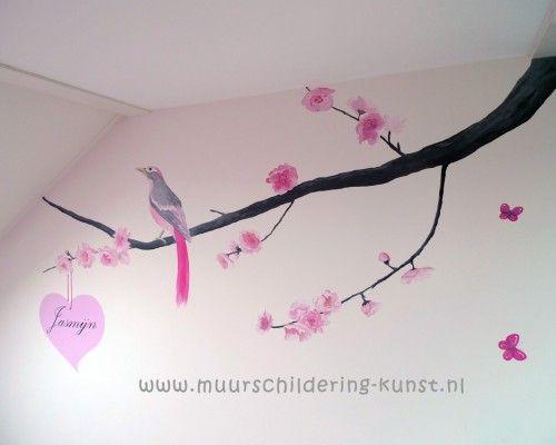 141 best images about muurschi deringen on pinterest blossoms blue nose friends and search - Schilderij slaapkamer meisje ...