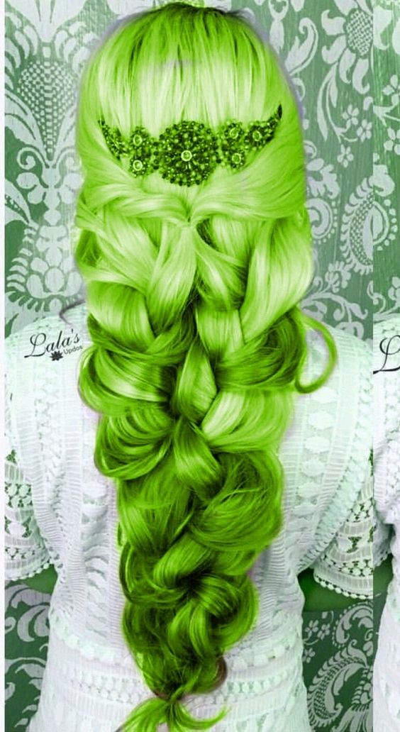 Green platted hair