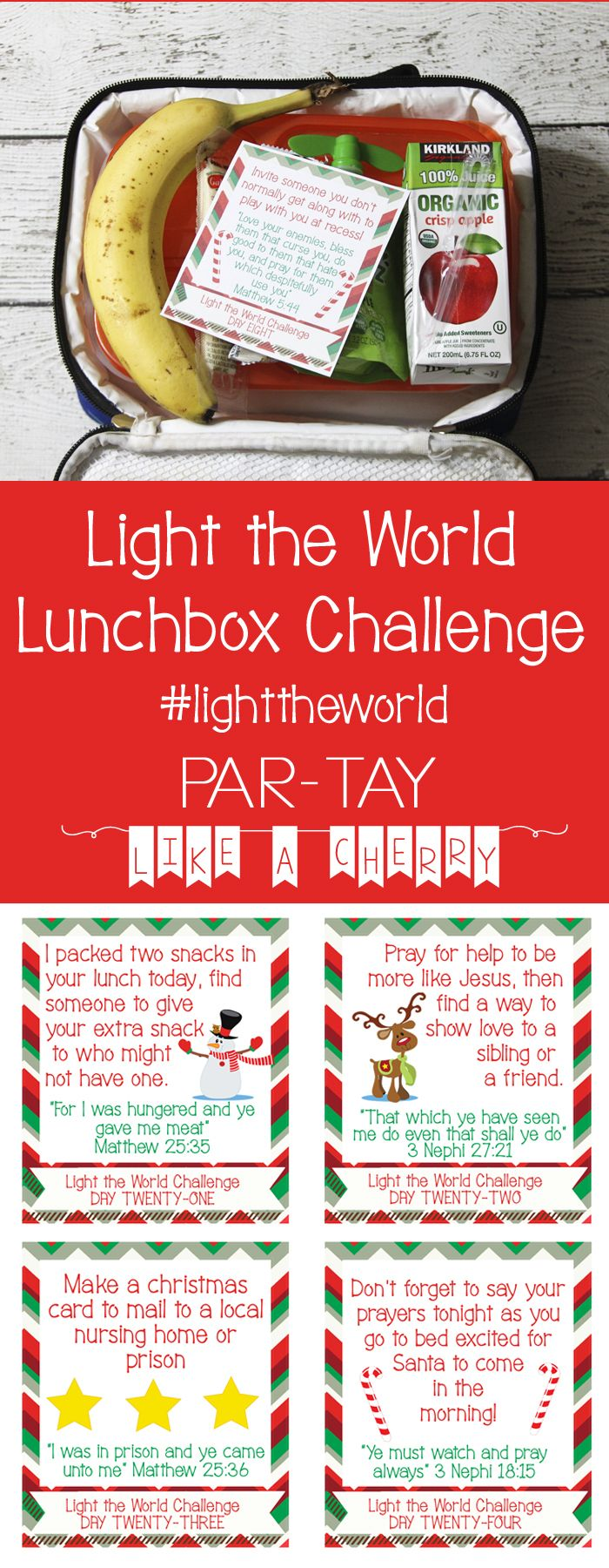 light the world free printable challenge cards, great to put in your kids lunches!