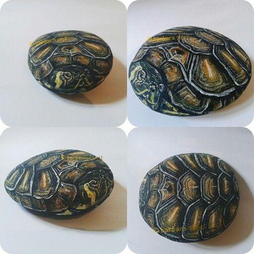 ritratto di tartaruga su pietra  #sassidipinti  #paintedstones  ©barbara santi