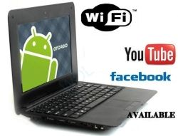 Slim and light weight BLACK (Solid Black Inside and Outside) mini laptop Android 2.2, 4GB storage, WiFi internet.