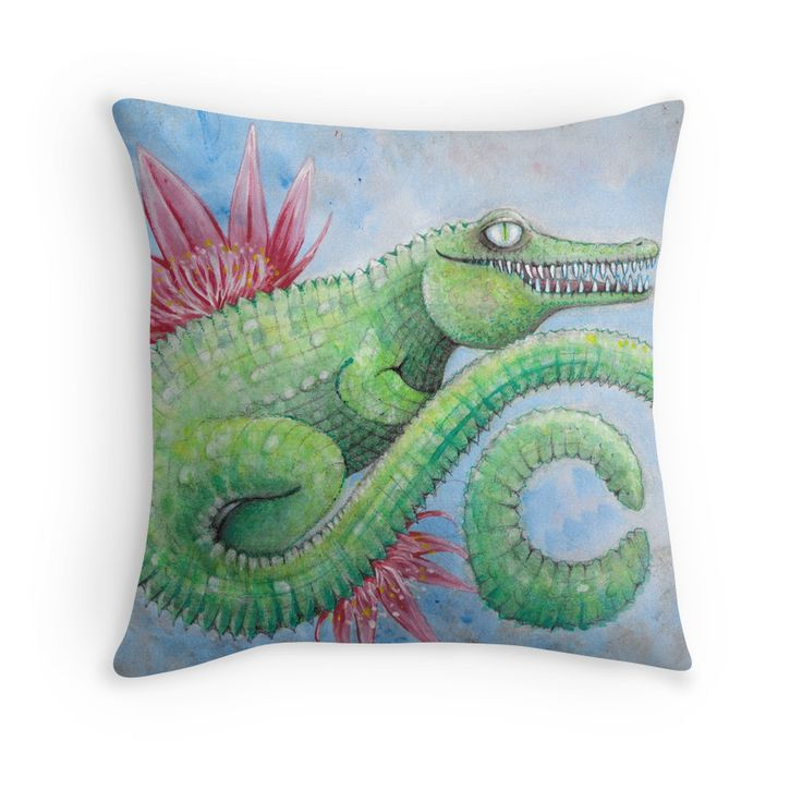 C is for crocodile children's decorative Australian art illustration printed cushion by melanie Dann
