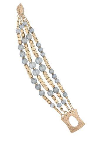 Multi-Strand Bracelet with Czech Glass Beads and Brass Beads - Fire Mountain Gems and Beads