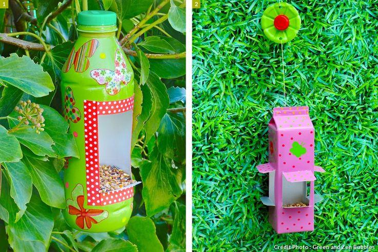 brique et bouteille transformées en mangeoire à oiseaux