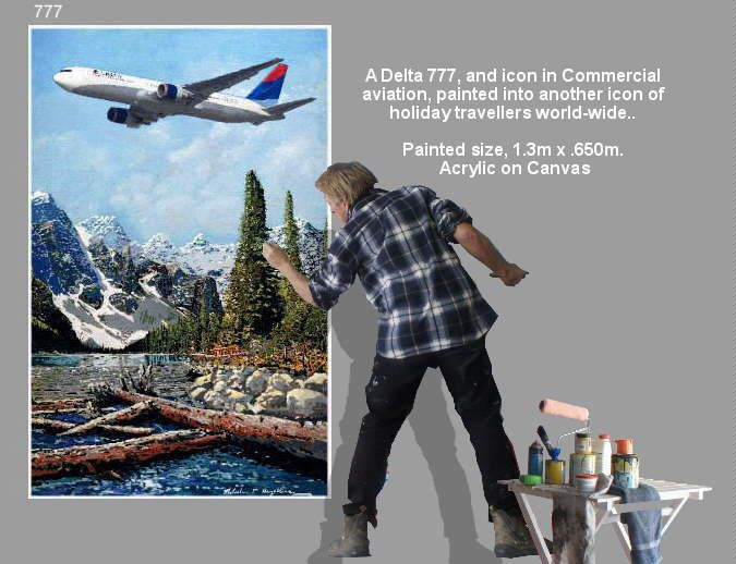 A Delta 777, and icon in Commercial  aviation, painted into another icon of  holiday travellers world-wide..  Painted size, 1.3m x .650m.  Acrylic on Canvas https://youtu.be/sSIpA0yewt8 greatvideo@yahoo.com.au